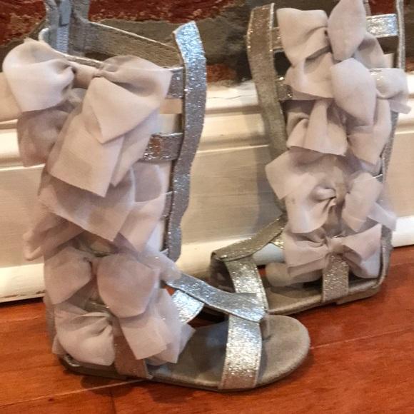 bb2ae45cba9 joyfolie Other - Joyfolie silver glitter bow gladiator sandals
